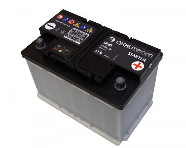Autobatterie Starterbatterie KFZ Batterie B Ware 12V 69Ah 680A Start Stop EFB akkuteam