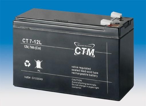 CTM Glasfaservlies (AGM) Batterie CT 7-12 L VdS-zertifiziert | 7Ah - 12V