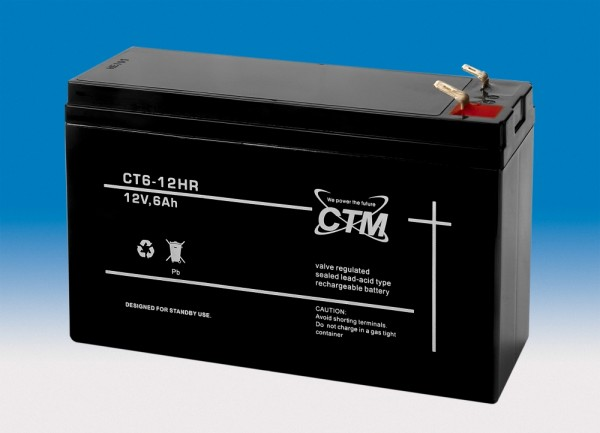 CTM Glasfaservlies (AGM) Hochstrom Batterie CT 6-12 HR | 6Ah - 12V