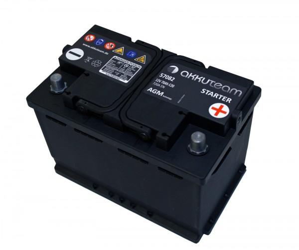 Autobatterie Starterbatterie KFZ Batterie B Ware 12V 70Ah 720A Start Stop AGM akkuteam