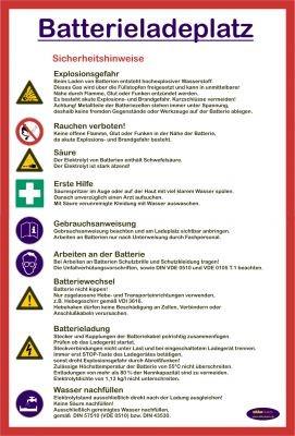 Hinweistafel zur Kennzeichnung von Batterieladeplätzen