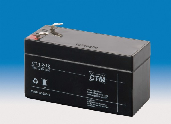 CTM Glasfaservlies (AGM) Batterie CT 1,2-12 | 1,2Ah - 12V
