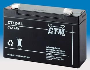 CTM Glasfaservlies (AGM) Batterie CT 12-6 L | 12Ah - 6V