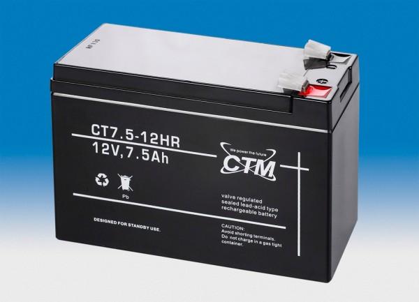 CTM Glasfaservlies (AGM) Batterie CT 7.5-12 HR Hochstrom | 7.5Ah - 12V