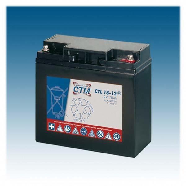 CTM Glasfaservlies (AGM) Batterie CTL 18-12 Long Life | 18Ah - 12V