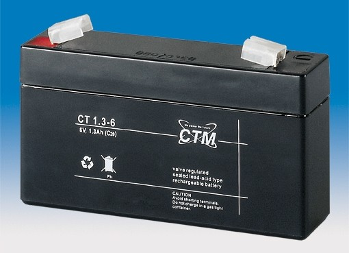 CTM Glasfaservlies (AGM) Batterie CT 1,3-6 | 1,3Ah - 6V