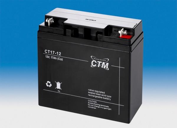 CTM Glasfaservlies (AGM) Batterie CT 17-12 VdS zertifiziert | 17Ah - 12V