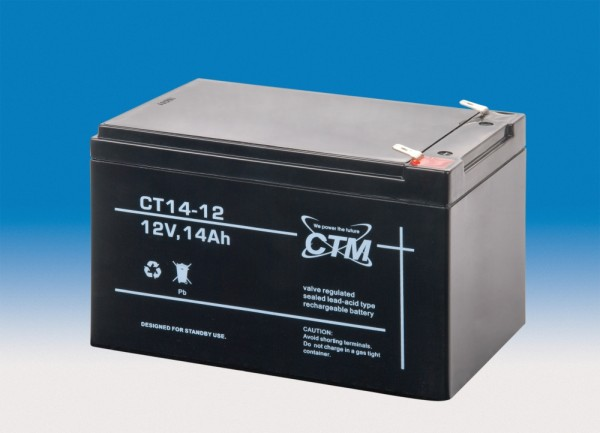 CTM Glasfaservlies (AGM) Batterie CT 14-12 | 14Ah - 12V