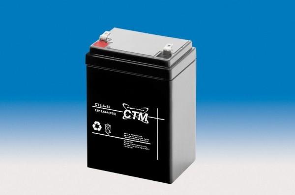 CTM Glasfaservlies (AGM) Batterie CT 2,6 -12 | 2,6Ah - 12V