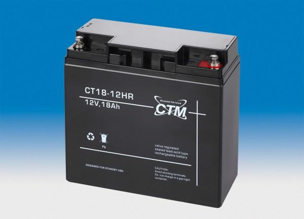 CTM Glasfaservlies (AGM) Batterie CT 18 -12 HR Hochstrom | 18Ah - 12V