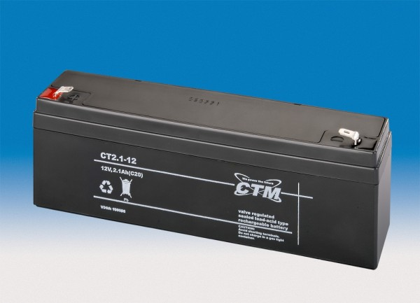 CTM Glasfaservlies (AGM) Batterie CT 2,1-12 | 2,1Ah - 12V