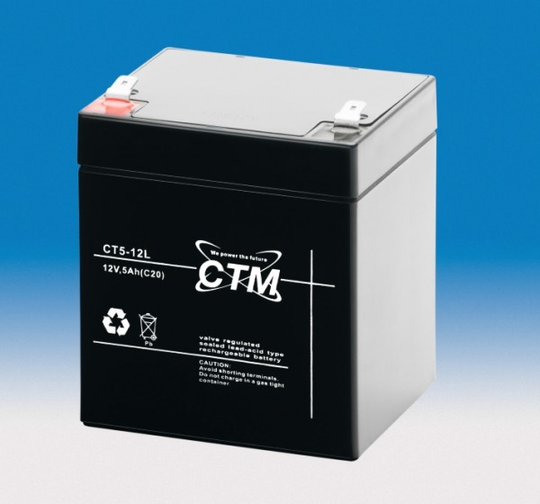 CTM CT 5-12 AGM Blei Batterie | 5 Ah - 12 Volt | Flachstecker 6,3 mm