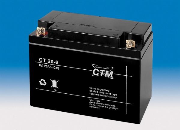 CTM Glasfaservlies (AGM) Batterie CT 20-6 | 20Ah - 6V