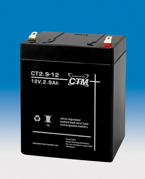 CTM Glasfaservlies (AGM) Batterie CT 2,9-12 | 2,9Ah - 12V