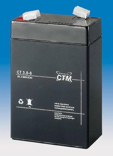 CTM Glasfaservlies (AGM) Batterie CT 3-6 | 3Ah - 6V